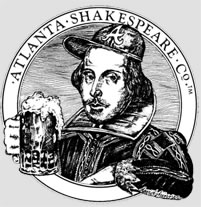 "The Atlanta Shakespeare Tavern logo, Parady of famous Shakespeare woodcut, wearing a baseball cap with an ""A"" and holding a mug of beer."