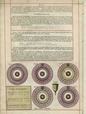 Yellowed page from an old book, with blocks of type going across the upper half of the page, and five purple disks with characters in them along with a key box in two levels across the lower half of the page.