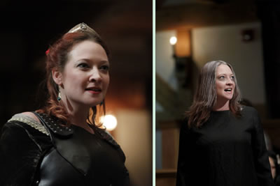 Two pictures: left Margaret with crown, leather breastplate, coiffured hair; right, Margaret in plain black gown, straggly gray hair, hollow eys
