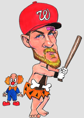 Caricature of Bryce Harper in red baseball hat with Washington Nationals' curly W, bat in hand, bandaide over one eye, dressed as Bam Bam with a clown in the backgroun