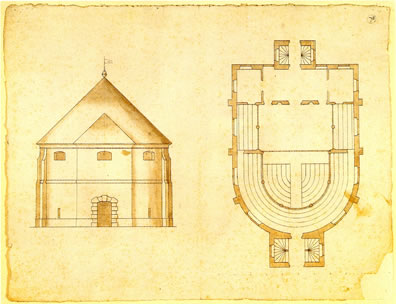 Yellowed architectural drawings of Jacobean indoor theater.