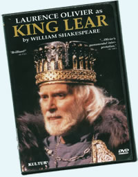 "DVD cover of ""Laurence Olivier as King Lear"" with him in crown and furr-collared robe"