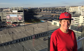 Photo of Sarah with Nationals Park in background