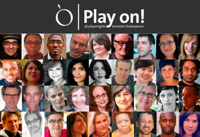 The masthead of the Play On! project, with the logo at the top and four rows of 9 headshots each, the collection of playwrights in the project.