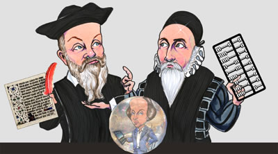 Caricacature of John Gee and Nostradamus with Shakespeare in a crystal ball