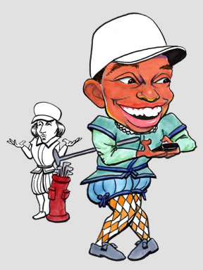 Caricature of Tiger Woods with cell phone and incredulous caddy in Renaissaisance Veronese clothes