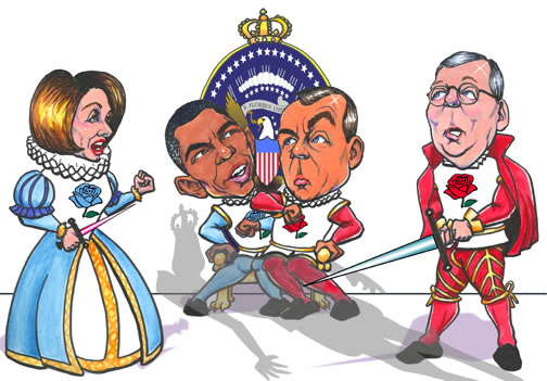 Caricature of Obama and Boehner fighting over Oval Office throne with Pelosi to one side, McConnel to the other, the Democrats wearing blue roses, the Republicans red, and a shadow of Richard III looming over